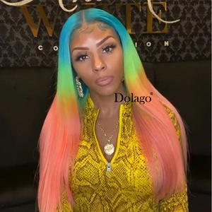 Image 4 - Lace Front Human Hair Wigs Rainbow Colored Straight Lace Frontal Wig Brazilian Transparent Full T Color Lace Dolago Colorful Wig