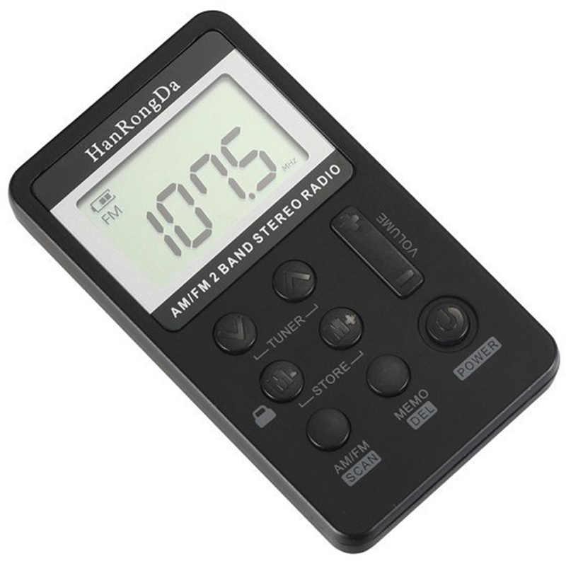 HanRongDa HRD-103 küçük AM FM dijital radyo 2 Band Stereo alıcısı taşınabilir cep radyo W/kulaklık LCD ekran kulaklık