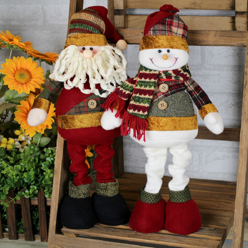 Christmas high-grade flannelette decorated Santa Claus snowman three-dimensional decorations christmas 2019 new