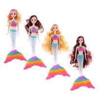 Hermosa muñeca de princesa de sirena con luz LED brillante, cola de luz del arco iris y Peluca de pelo rizado, modelo de juguete para niñas