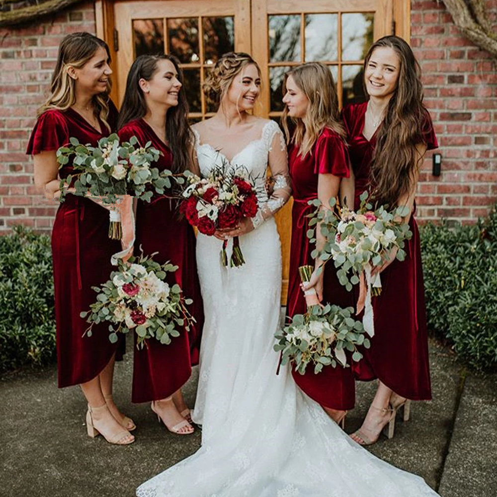 Velour Bridesmaid Dresses 2020 Burgundy Robe Demoiselle D'Honneur Short Sleeves Vestido Madrinha