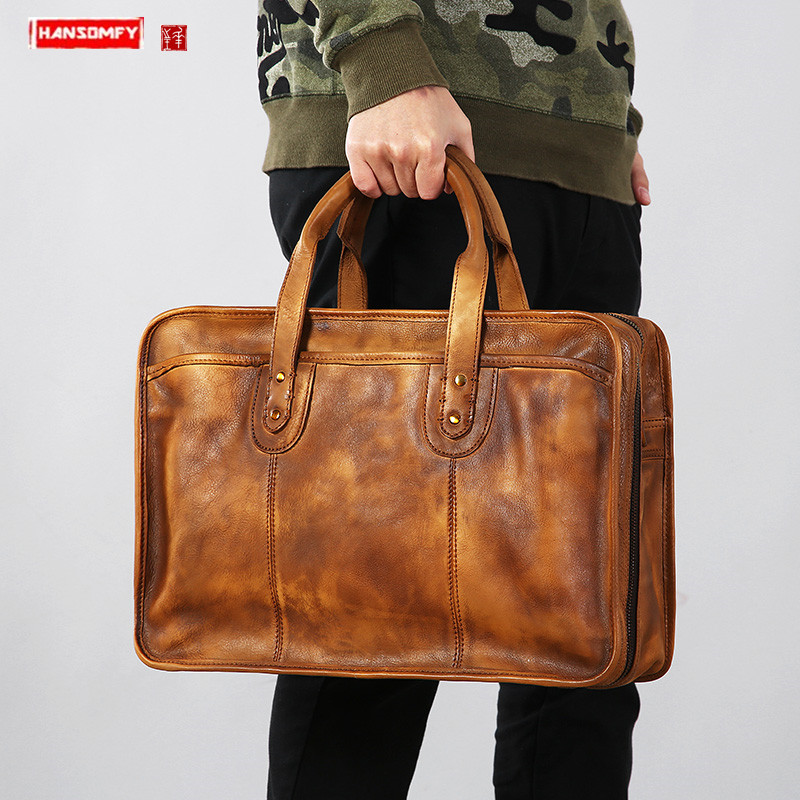 Genuine Leather Retro Men Handbag Computer Bag Briefcase  Male Shoulder Diagonally Laptop Bag Men Head Layer Leather Travel Bags