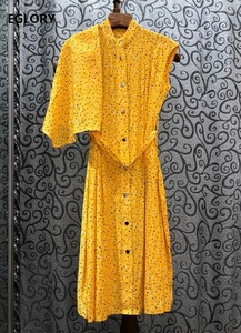 Nuevo vestido de verano 2020 de alta calidad para mujer, con dibujo de lunares, volante, Sexy, sin mangas, a media pantorrilla, vestido de camisa largo, amarillo, rojo y negro