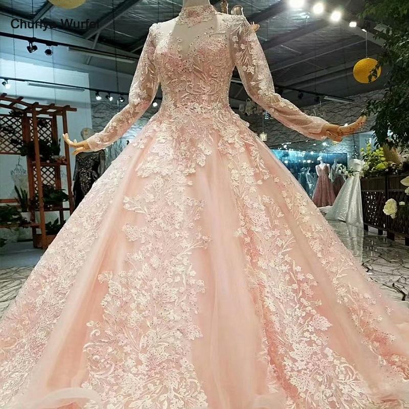 LS324749 couleur claire filles pageant robes de soirée manches longues en tulle col haut brosse train beauté automne longues robes de soirée