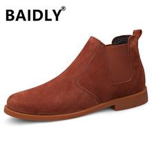 Mężczyźni buty moda mężczyźni zimowe buty prawdziwej skóry Super ciepłe zimowe trampki męskie futro pluszowe ciepłe buty na śnieg duże rozmiary tanie tanio BAIDLY Pracy i bezpieczeństwa CN (pochodzenie) Skóra bydlęca ANKLE Stałe Dla dorosłych Okrągły nosek Zima Niska (1 cm-3 cm)