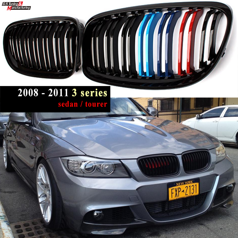 for BMW 3 Series 2008 - 2011 (E90 E91) LCI front Kidney Grille in Glossy M Colour Nearly OEM Fitment High Gloss Finish UV Cut image
