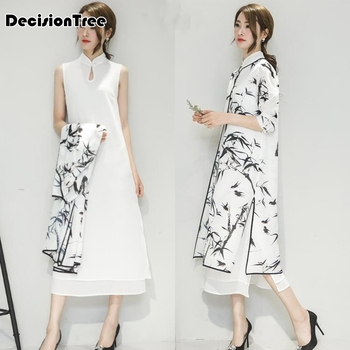 2020 womens satin cheongsam evening dress chinese oriental qipao dresses traditional ink painting retro