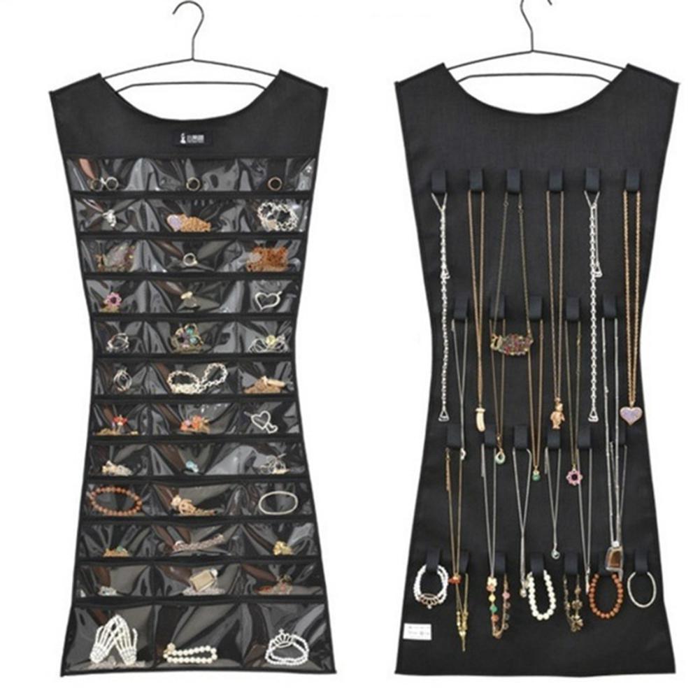 1Pc 30 Pocket 24 Hanging Loop Storage Bag Jewelry Holder Necklace Bracelet Earring Ring Organizer Jewelry Bag 79*43cm