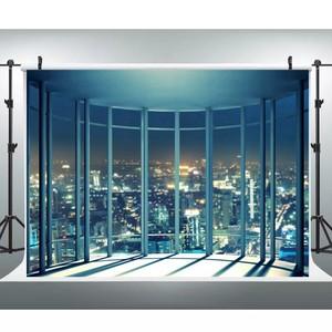 Image 4 - Laeacco מודרני עיר לילה מבנים צרפתית חלון צילום תפאורות תמונה רקע פנים דקור שיחת וידאו צילום סטודיו