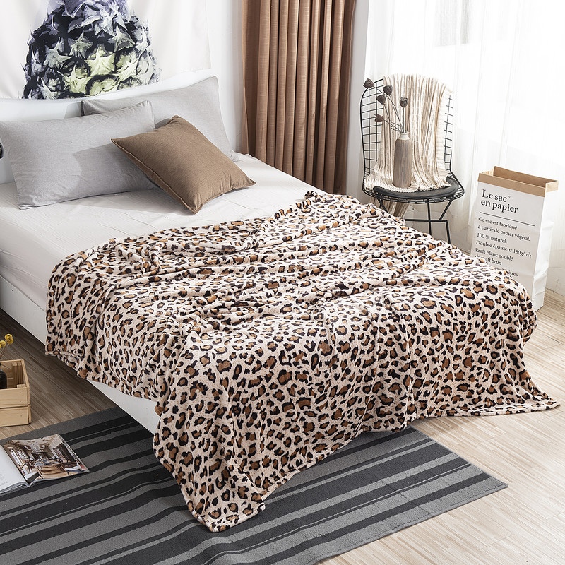 Leopard Zebra Printed Winter Warm Flannel Blankets For Beds Soft Warm Fuzzy Mink Throw Faux Fur Coral Fleece Airplane Blanket