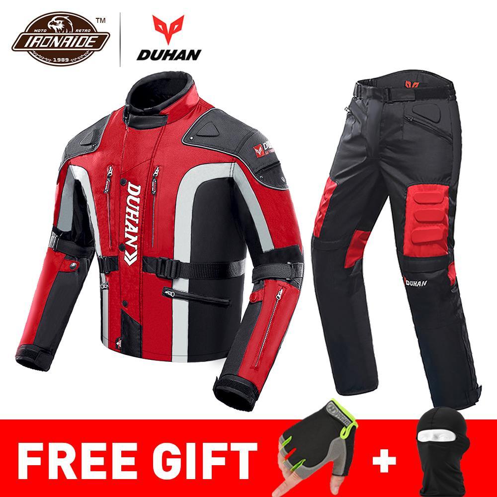 Duhan outono inverno à prova de frio jaqueta da motocicleta moto + protetor calças moto terno touring roupas conjunto de equipamentos de proteção