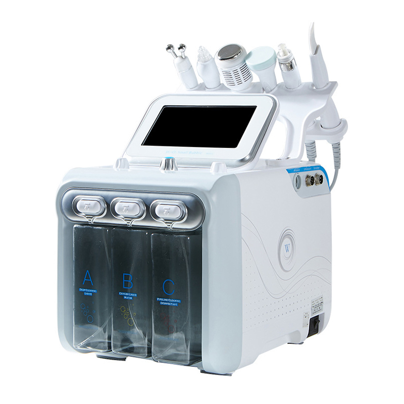 Hot Upgrade 6 In 1 Small Bubble Skin Care Tools Ultrasonic RF Hydra Deep Facial Pore Clean Facial Massage Machine