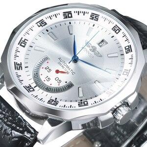 Image 1 - Vencedor oficial militar esportes relógio masculino automático mecânico sub mostradores calendário pulseira de couro dos homens relógios marca superior luxo