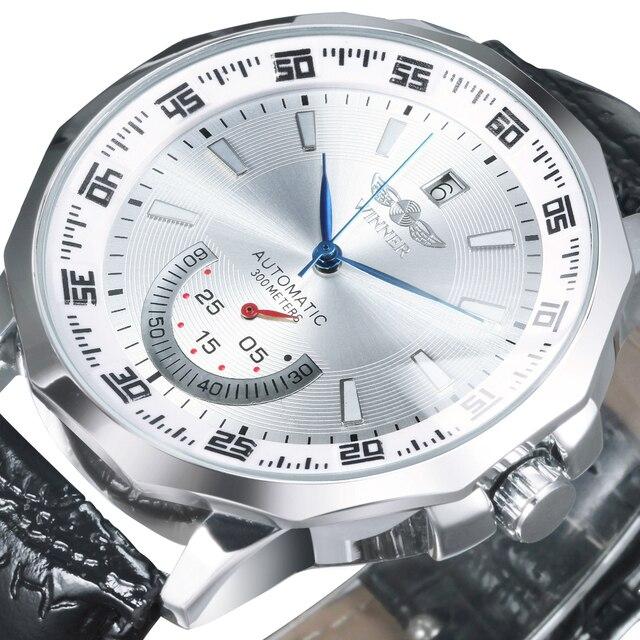 Vencedor oficial militar esportes relógio masculino automático mecânico sub mostradores calendário pulseira de couro dos homens relógios marca superior luxo