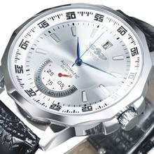 Zwycięzca oficjalny sportowy zegarek w stylu wojskowym mężczyźni automatyczne mechaniczne sub tarcze z kalendarzem i skórzanym paskiem męskie zegarki Top marka Luxury