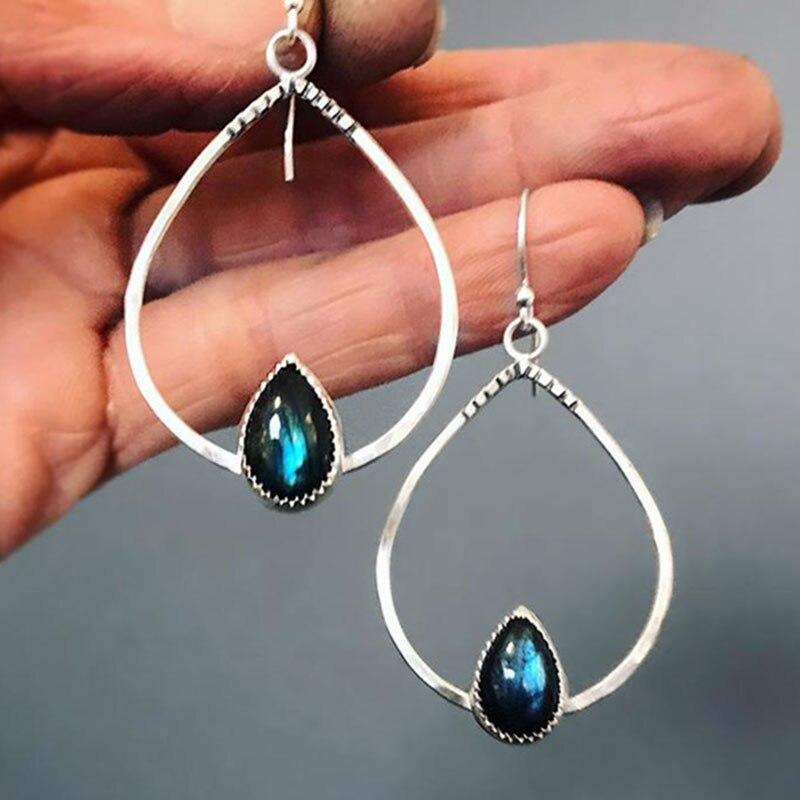 Boho tribal prata cor oco metal grande gota de água brincos jóias indianas lágrima cinza pedra balançar brinco femme