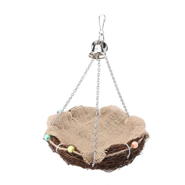 Parrot Hanging Rest Nest Basket Cage Birds Toy With Bell Bite Pet Cockatiel Parakeet Funny Stand Rest Perch Swing 5 1