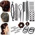 Набор женских аксессуаров для волос, инструменты для укладки волос, волшебный пончик, приспособление для пучка, шпильки, завязки, крученые э...