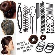Vrouwen Haar Accessoires Kit Hair Styling Gereedschap Magic Donut Bun Maker Haarspelden Banden Twist Elastische Haarbanden Haardracht Braid Gereedschap