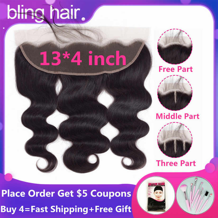 Bling Hair Lace Frontal Closure Brazilian Hair Body Wave 13x4 Free Part Remy Human Hair Closure With Baby Hair Natural Color