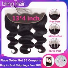 Bling cierre Frontal de malla para cabello humano brasileño ondulado 13x4, cierre Frontal de oreja a oreja, Remy, con pelo de bebé, pieza libre