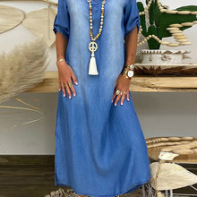 Ladies Denim Skirt Fashion All-Match Temperament Long Skirt Blue Half-Sleeved Summer V-Neck Hot Casual Holiday Dress