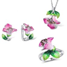 Women S925 silver enamel engagement ring flower pendant cloisonne silk craft earrings set(China)