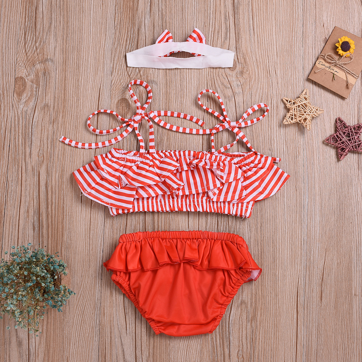 2020 Summer KID'S Swimwear Infants Girls Camisole Stripes Lotus Leaf Mo Xiong Yi Shorts Split Type Swimsuit
