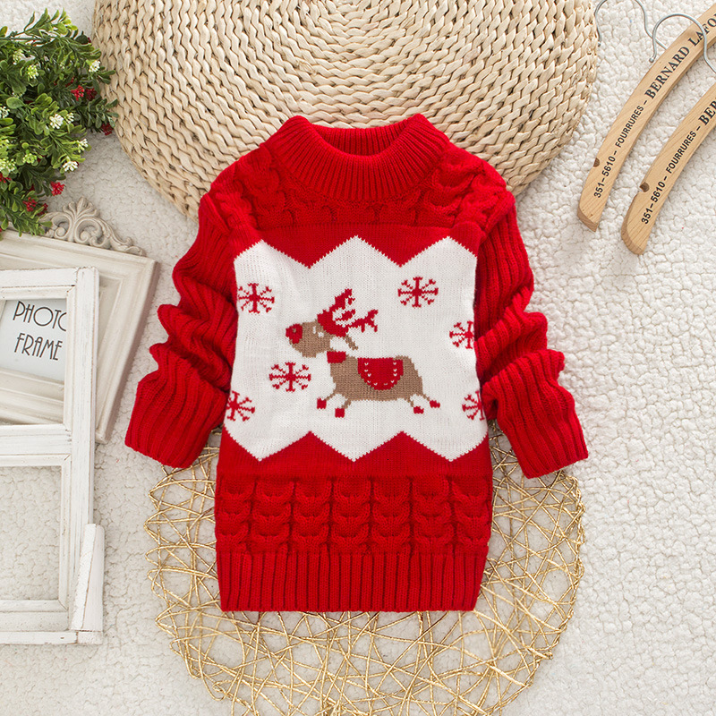 Children Christmas Sweater Girl Round Neck Sweaters Boy Little Deer Clothes 1-4 Years Baby Autumn Clothing Kids Warm Tops 1