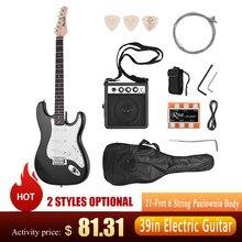 Muslady guitarra elétrica 21-traste 6 cordas paulownia corpo bordo pescoço de madeira maciça com alto-falante pitch tubo guitarra saco cinta righthand