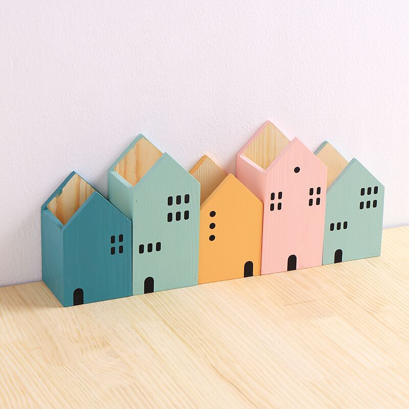 House Shape Wood Pen Holder Table Organizer Storage Box 4