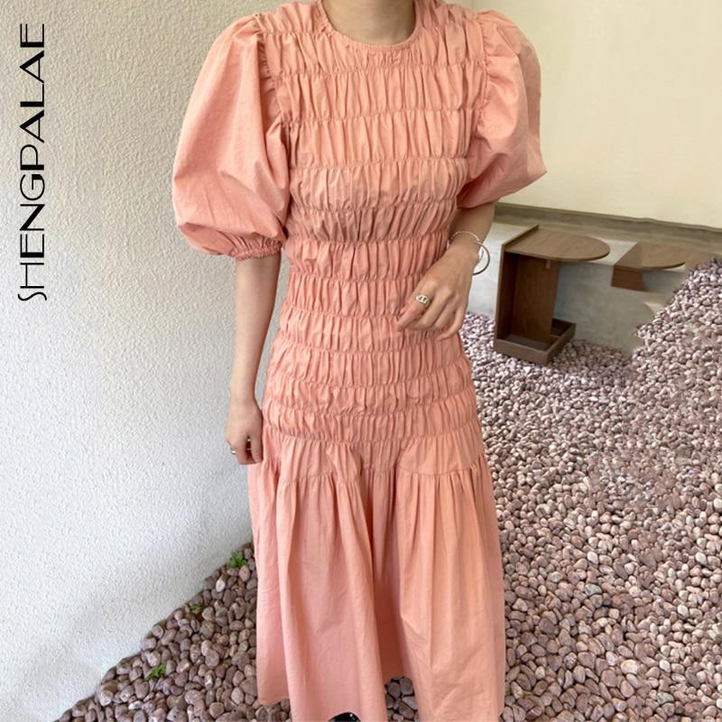 SHENGPALAE 2020 New Fashion Summer Women Vintage Loose High Waist Slim Was Thin Elegant Puff Sleeve Folds Maxi Dress ZA4227