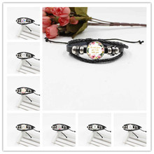 2019 New Bible Verse Glass Bracelet Woven Leather Jewelry for Christian Gifts