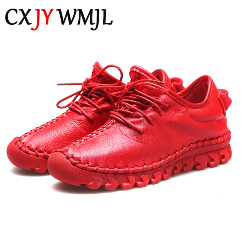 Handmade Genuine Leather Women Shoes Fashion Casual Sneakers Retro Flats Ladies Lacing Loafers Breathable Vulcanized Shoe Red 40 1