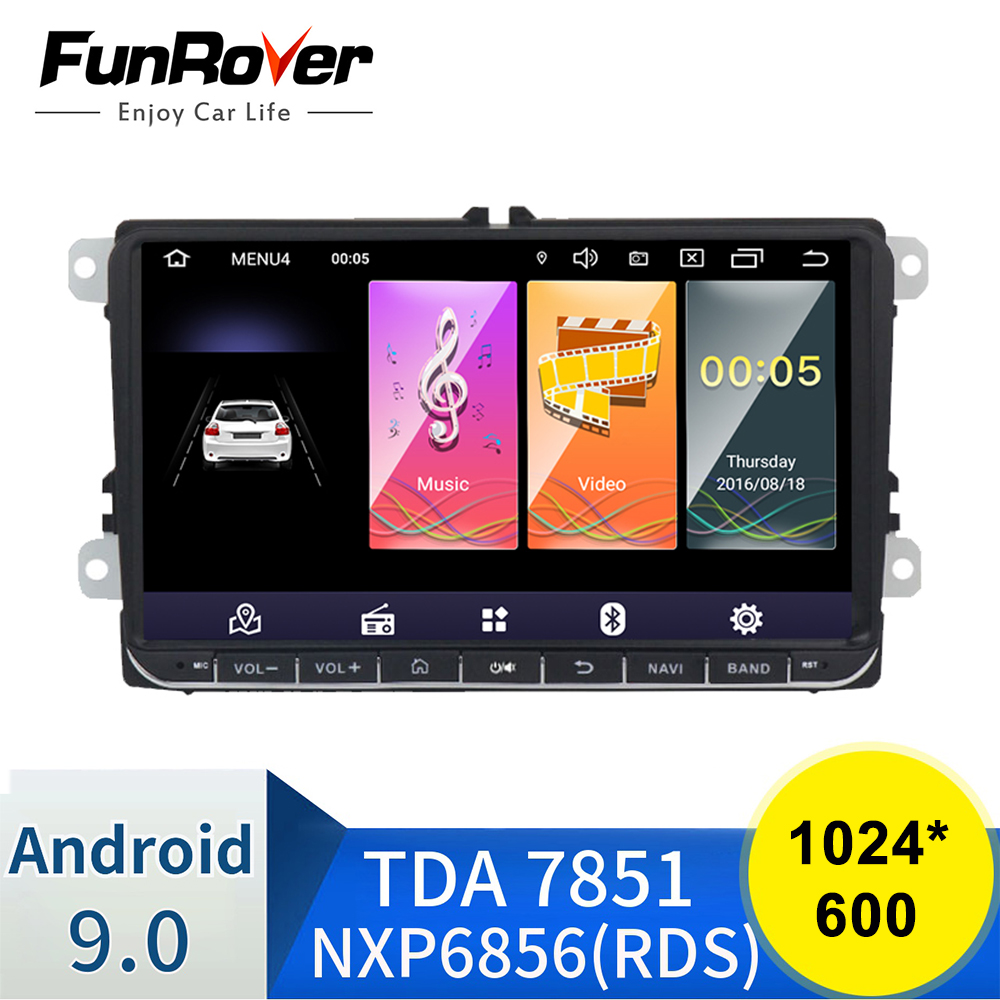 Funrover <font><b>Android</b></font> 9.0 DSP 2 din <font><b>Car</b></font> dvd gps <font><b>Radio</b></font> video for Volkswagen Passat CC Polo golf5 <font><b>6</b></font> Touran EOS T5 Sharan Tiguan RDS BT image