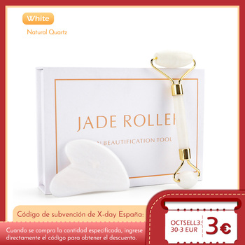 Facial Massage Roller Guasha Board Set Double Heads Jade Stone Face Lift Body Skin Relaxation Slimming Beauty Neck Thin Lift 1pack rock crystal quartz facial massage roller and wand and guasha board anti wrinkle thin face beauty bar stick body massage
