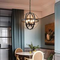 Vintage Loft Retro Wrought Iron Black / White Painted Globe Ball Shape Chain Pendant Light with E14 Warm White Bulbs Dining Room