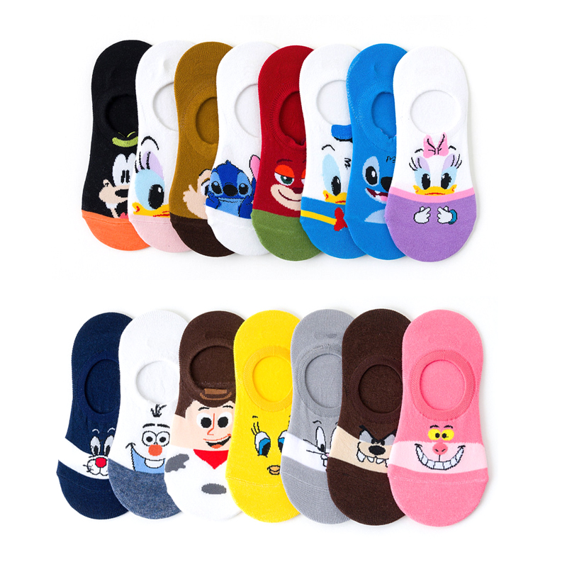 5 Pairs/Lot Disney Women's Boat Socks Cartoon Mouse Snow Cute Kawaii Funny Ankle Invisible Silicone Slipper For Girl EU35-40