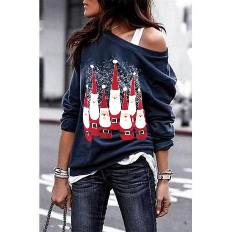 S-5XL Womens Ladies Printed Oversized Christmas Santa Costume Baggy T-Shirt Women Tops
