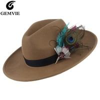 Vintage Women Jazz Cap Fedora Hat Solid Color Wide Brim Cowboy Hat Elegant Feather Decor 100% Wool Felt Hat Sunhat