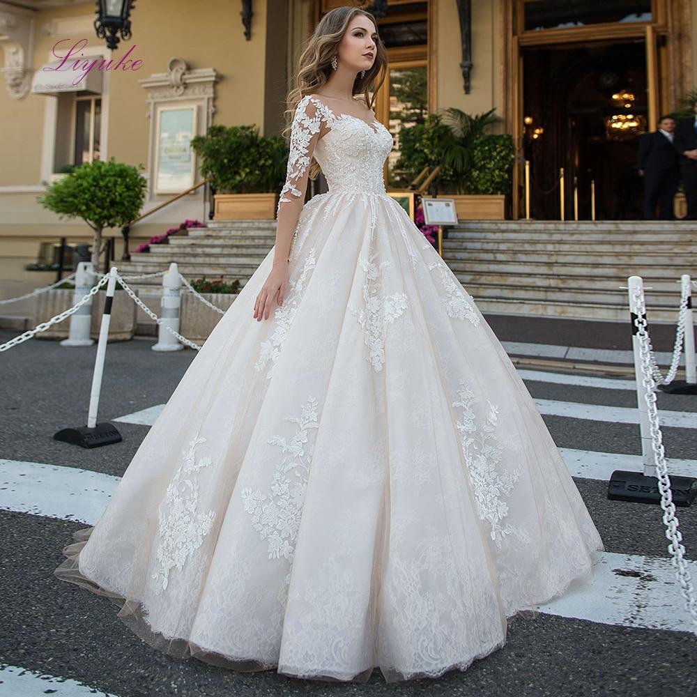 Liyuke 2019 Married Ball Gown Wedding Dress Scoop Neck Lace Appliques Customer Made Size Floor-length Robe De Mariee