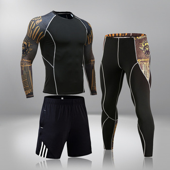 High-End Men's Brand Sports Riding 3 Set MMA Tactical Leggings Solid Color Clothing Compression Fitness Long Johns Winter Suit 6