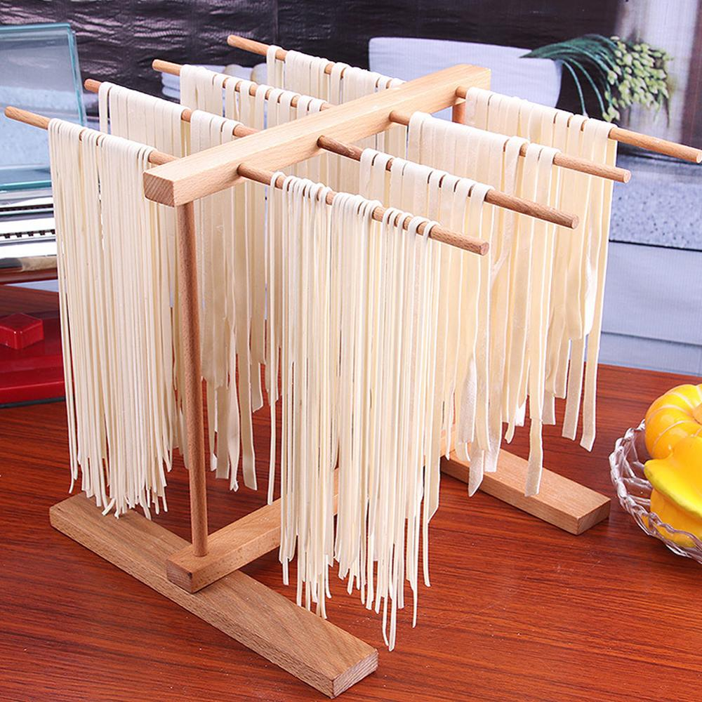 Pasta Drying Rack Noodle Rack Household Noodle Pressing Machine Accessories Folding Retractable Wood Pasta Rack Spaghetti Holder image