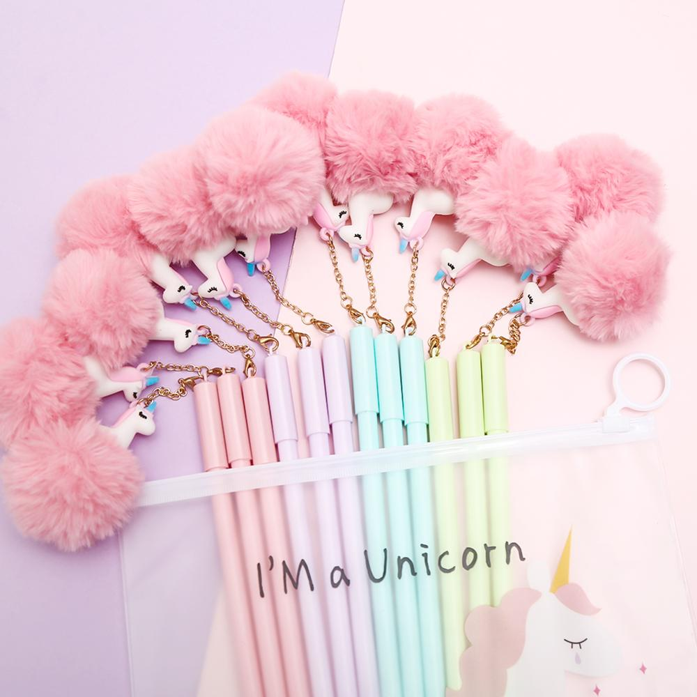 8Pcs/set Kawaii Cute Ball Top Unicorn Gel Pens Animal Fluffy Plush Pendant Stationary Fine Point Christmas Gift Pencil Case Ba