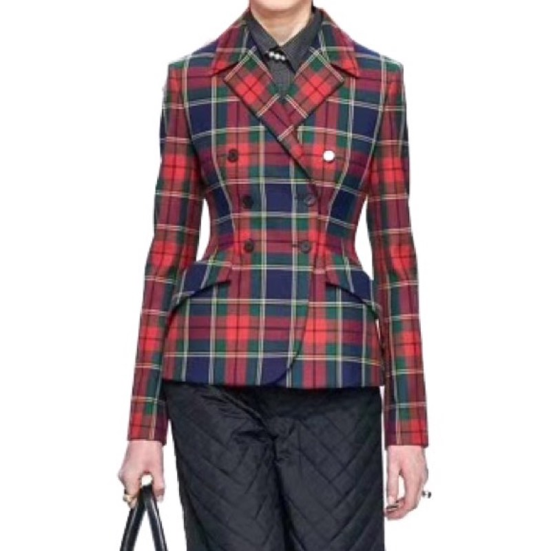Fashion Ladies/Woman Jackets Women Clothing/Tops And Blouses/Winter/Autumn Jacket/ Suit/Blazer Office Lady Plaid Double Vadim