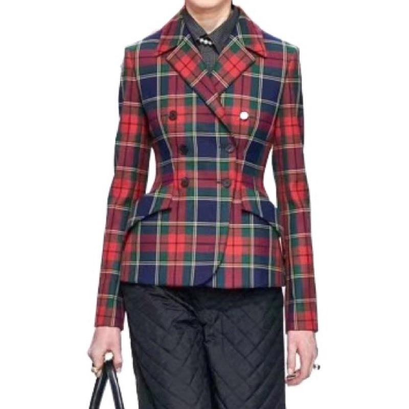Fashion Ladies/Woman Jackets Women Clothing/Tops And Blouses/Winter/Autumn Jacket/ Suit/Blazer Office Lady Plaid Double Vadim