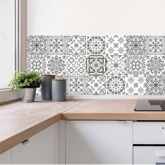 10pcs Gray Retro Pattern Matte Surface Tiles Sticker Transfers Covers for Kitchen Bathroom Tables Floor Hard-wearing Wall Decals 5