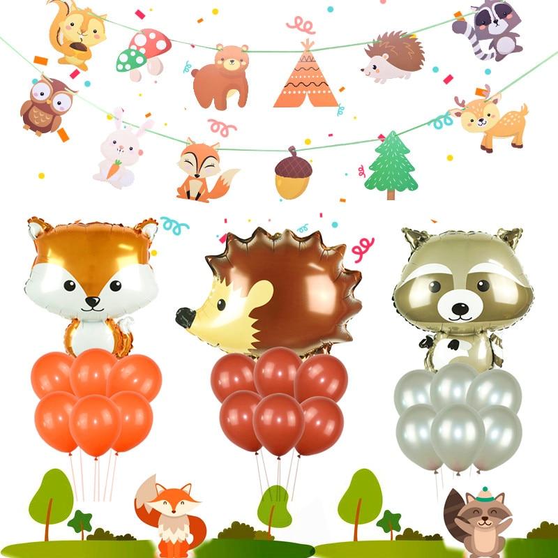 NEW Safari Jungle Theme Party Supplies Forest Animal Balloons Raccoon Fox Foil Ballon DIY Baby Shower Kids Birthday Decor Globos