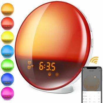 WIFI Smart Breathing Light Alarm Clock Wake Up LED Digital Display Nature Night/Sun Light Clock Alexa Google Lynx Voice Control