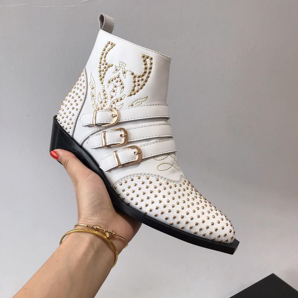 Vibsterimma haute qualité goujons blanc bracelet en cuir bottes femmes en cuir véritable fermeture éclair bottines femme Martin moto chaussons